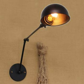 Retro  black swing arm matal shade wall lamp with long arm for workroom Bathroom storeroom  bar