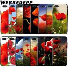 WEBBEDEPP Red Corn Poppy Flower Soft Case for Huawei Honor 6 7A Pro 7C 8C 7X 8X 8 9 10 lite Note10