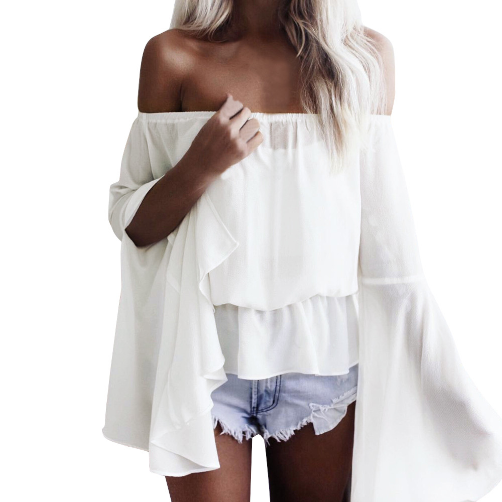 Women Summer Chiffon Blouse Fashion Ruffles Slash Neck Vintage flare Sleeve Kawaii Loose off Shoulder white top