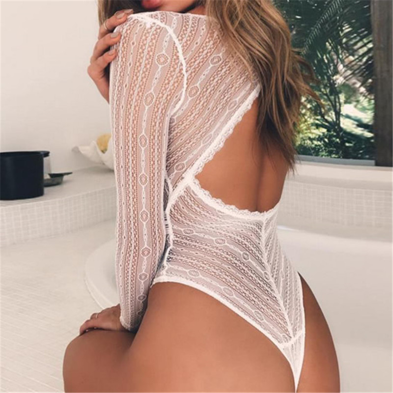 Women Deep V Neck Lace Mesh Crochet Bodysuit Women Slim Fit Romper   Jumpsuit   Sexy High Street Bodysuits Tops for Women Clothing