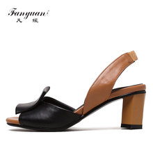 Fanyuan 2019 Summer Shoes Woman Sandals Mixed colors ladies sandals Stylish Back strap High heels Women Party Dress Shoes Black stylish women s sandals with flowers and black colour design