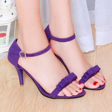 Women Sandals 2016 Summer Size 10 9 Ankle Strap High Heels Sandals Shoes Woman Sandals Bow Ladies Sandals Purple Green Shoes 43