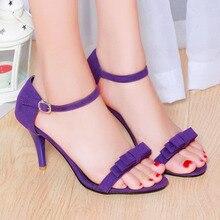 Frauen Sandalen 2017 Sommer Größe 10 9 Knöchelriemen High Heels sandalen Schuhe Frau Sandalen Bogen Damen Sandalen Lila Grüne Schuhe 43