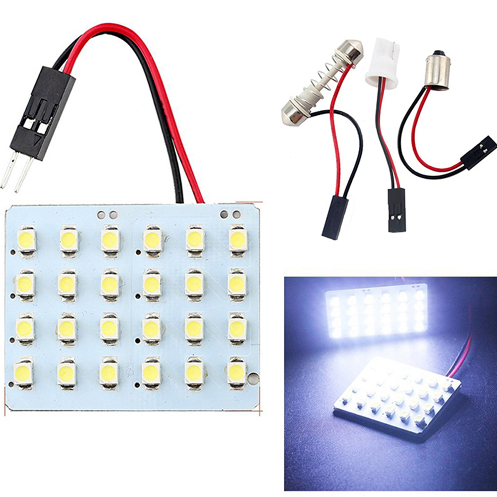 100pcs Festoon Dome Panel light 24 SMD 1210 24SMD 3528 LED Auto Car Interior roof reading Light with T10 Festoon 2 adapters DC 1 guangdian car led light auto interior light kit roof vanity light glove foot trunk cargo lamp t10 festoon for kia ceed 2006 2015