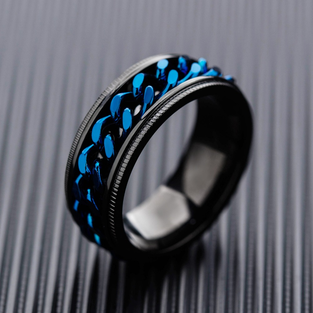 OLOEY Punk Men 39 s Ring Cool Fashion Titanium Steel Male Finger Rings Fashion Casual Blue Rotatable Ring For Boyfriends Gifts in Engagement Rings from Jewelry amp Accessories