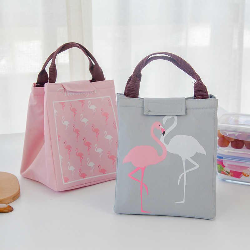 Flamingo Tote Almoço Saco de Comida Saco Térmico Oxford Praia À Prova D' Água Preta Homens Saco Do Refrigerador Do Piquenique Mulheres Garoto Novo