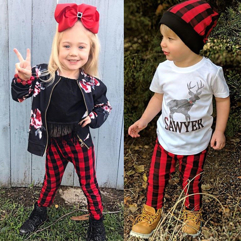 Christmas Red Plaid Pants Newborn Kids Baby Girls Boys Pants Bottoms Cute Baby Clothes Scotland Trousers 6M 12M 18M 24M 3T