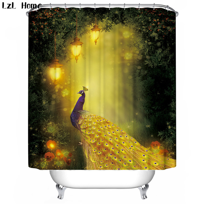 LzL Home gorgeous peacock elegant swan pattern shower curtains luxury fabric bathroom curtain waterproof printed bath decoration