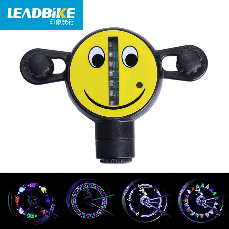 Leadbike 14 LED Motorcycle Bicycle Wheel Light Bike Signal Tire Spoke Smile Light 30 Changes Colorful Cycling Accessories