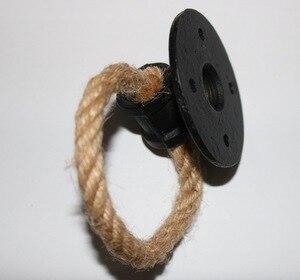 Image 2 - 2 pezzi/lottp Diametro: 7 cm Americano Creativo Flangia Anello di Maniglia Della Porta Corda di Canapa Per Mobili Maniglia