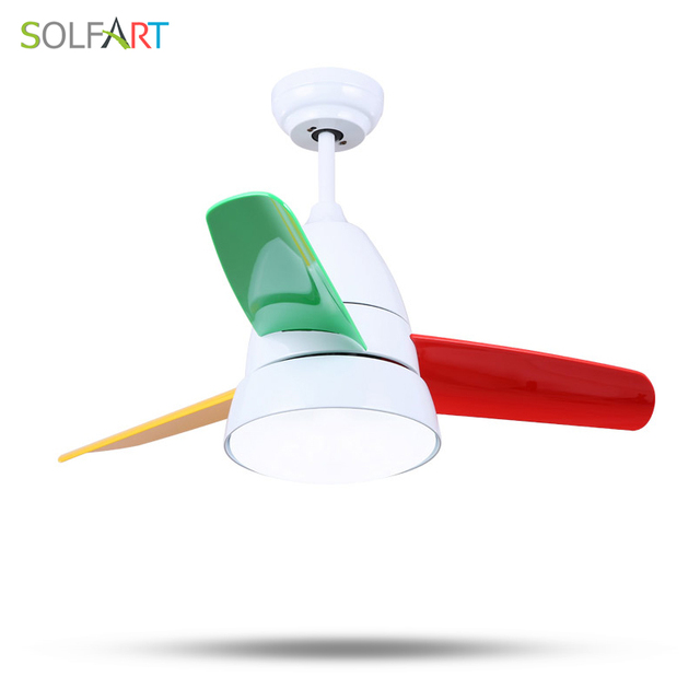 SOLFART Ceiling Fan LED Modern Kids Room Led Lamp Black White Colorful  Bedroom Ceiling Fans With