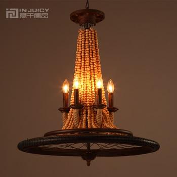 Ретро Кованое железное колесо деревянная люстра Эдисона освещение деревенская антикварная американская кантри металлическая люстра для с...