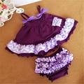 Meninas do bebê Chevron Parte Superior Do Balanço Conjunto, Ruffle Toddle Balanço Vestido de roupa Das Meninas, bebê Superior e Conjunto Bloomer