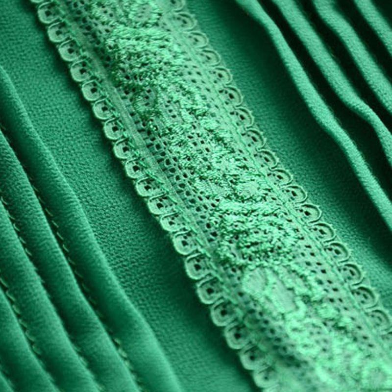 Women Ruffle Stand Collar Slim T-Shirt Tops Lady Casual Lace Sleeveless Shirt Ladies Tee Green/White chiffon 5