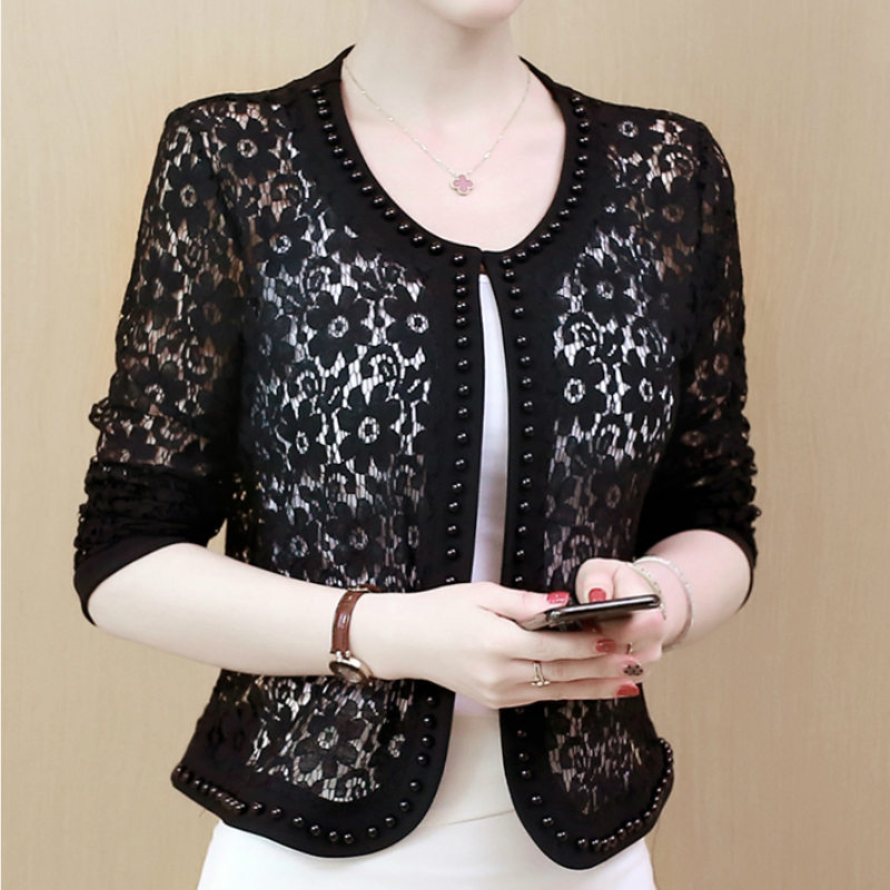 HTB1mDi S3HqK1RjSZFkq6x.WFXa3 - Women Jacket Long Sleeve black hollow lace jacket women fashion women's jackets women coats and jackets women clothing B239