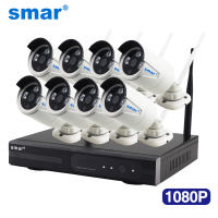 Smar 1080P Wireless CCTV System 2MP 8CH HD WI FI NVR Kit Outdoor IR Night Vision