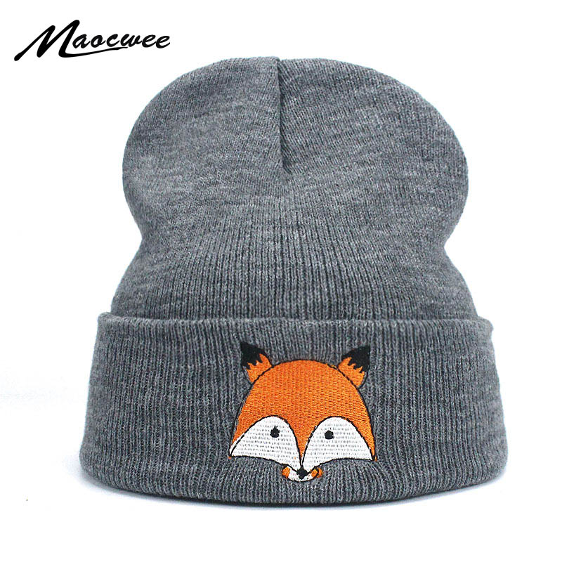 Women Men Winter Caps Cartoon Fox Embroidery Cotton   Skullies     Beanies   Brand New 2018 High Quality Warm Knitting Hat Female Caps