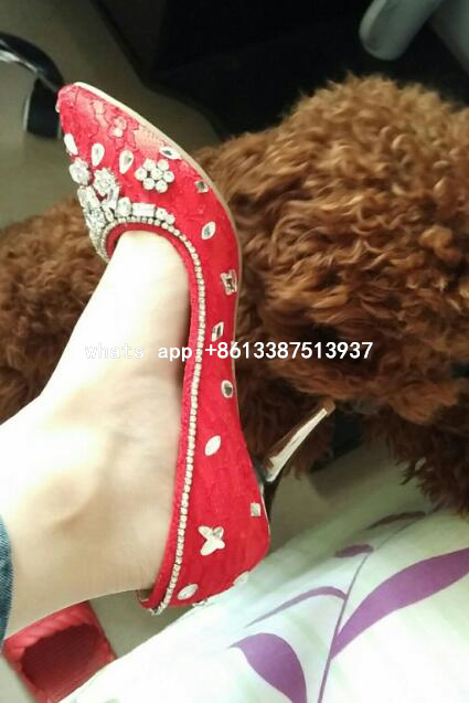 Real photos Spring 2017 New Hot Women Red White 8 cm Heel Lace Crystal Diamond Slip On Pointed Toe Pumps Wedding Shoes Big Size 2018 spring autumn new lace flower wedding shoes slip on round toe bridal shoes high heel women pumps shallow pointed toe 8 5cm