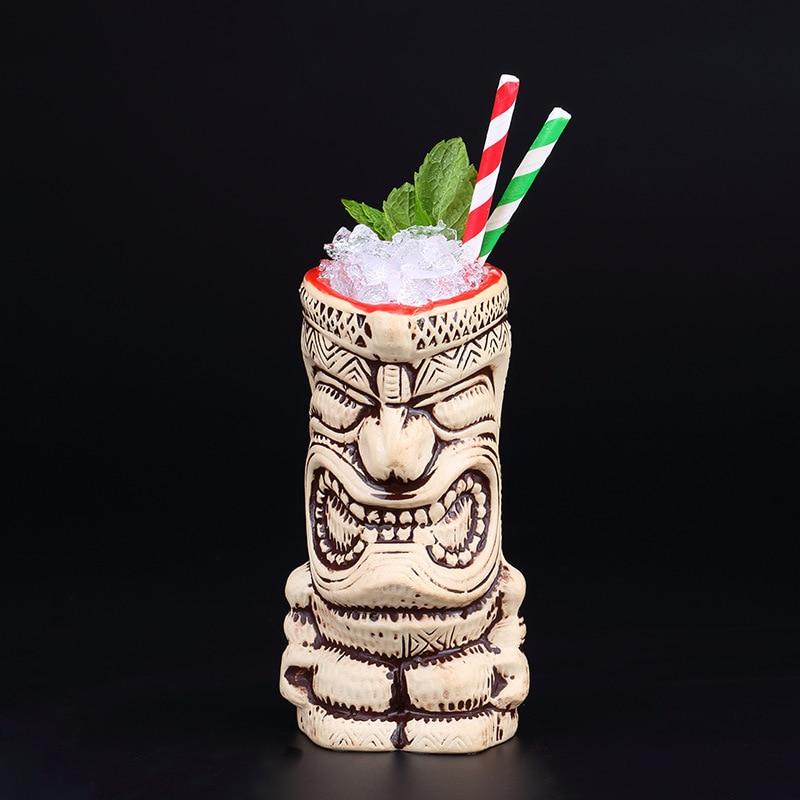 Hawaii Tiki Cocktail Mug Tiki Island Wine Mugs Ceramic Drinking Cup Art Crafts Creative Hawaii Cups Bar Accessories Tools