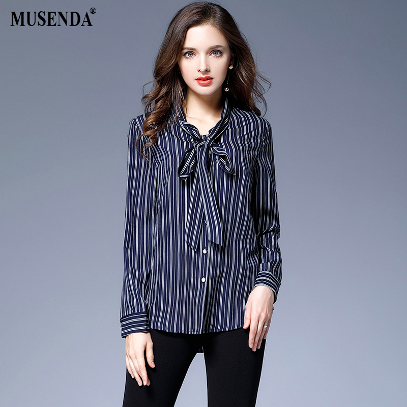 MUSENDA Plus Size 5XL Women Royal Blue Striped Chiffon Bow Shirt Blouse 2017 Summer Lady Fashion Casual Brief Office Street Tops