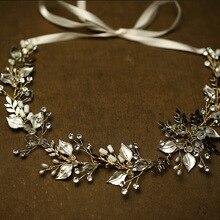 Vintage Handmade Gold Leaves Wedding Hair Vine Tiara Rhinestone Headband Bridal Accessories Women Hair Jewelry Headpiece