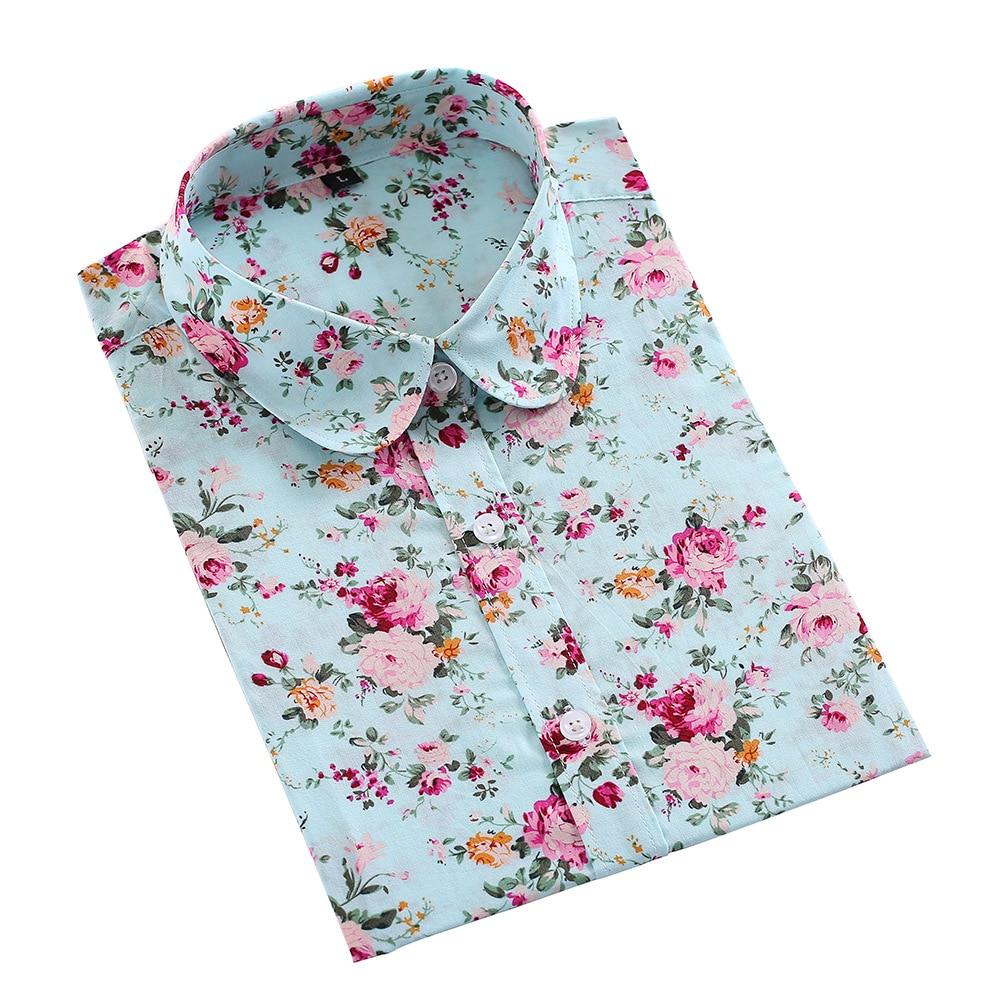 2019 új, hosszú ujjú, virágos Cherry Turn Down gallér ing Blusas - Női ruházat
