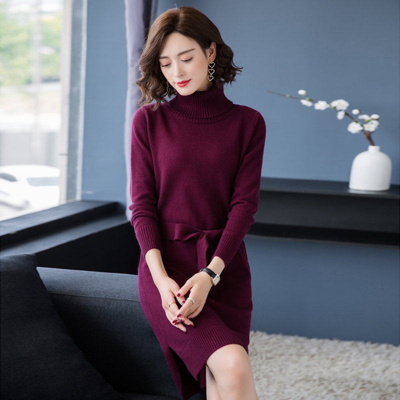 New 2018 Women Turtleneck Sweater Dress Elegant Female Side Split Dress Knit Dress With Belt Long Sleeve