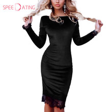 Здесь можно купить  2017 New Long Sleeve Patchwork Velvet Lace Women Dress Knee Length Black Red Autumn Winter Party Bodycon Dresses SPEEDATING
