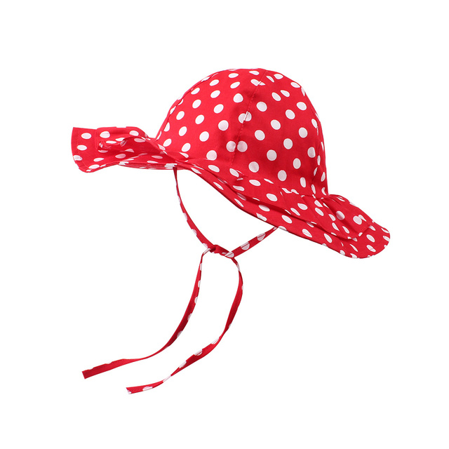 a092e2f31 US $8.31 18% OFF|Red Baby Girls Sun Hat Polka Dot Flower Bucket Cap Lace Up  Girls Hat With Large Brim Sping Summer Autumn Kids Toddler Sun Hat-in Hats  ...