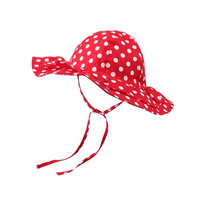 Rojo niñas Dom sombrero casquillo del cubo de la flor del punto de ...
