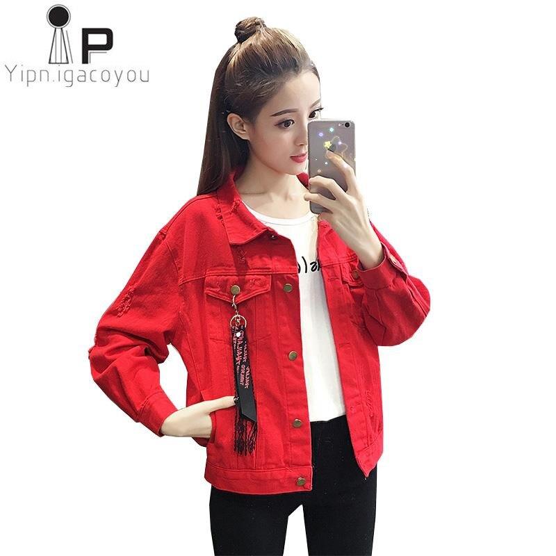Red Denim   jacket   Women   Basic   Coat Autumn Jeans   jacket   Women Female New Big size Harajuku Short Women Coat Korean Female Overcoat