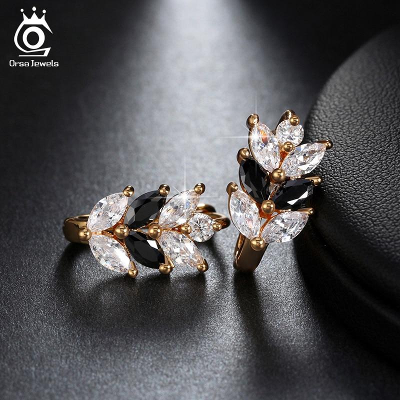 ORSA JEWELS 2017 Silver Color Earrings Leaf Style Marquise Cut AAA Austrian Clear Zircon Women Fashion Earring Stud OME03