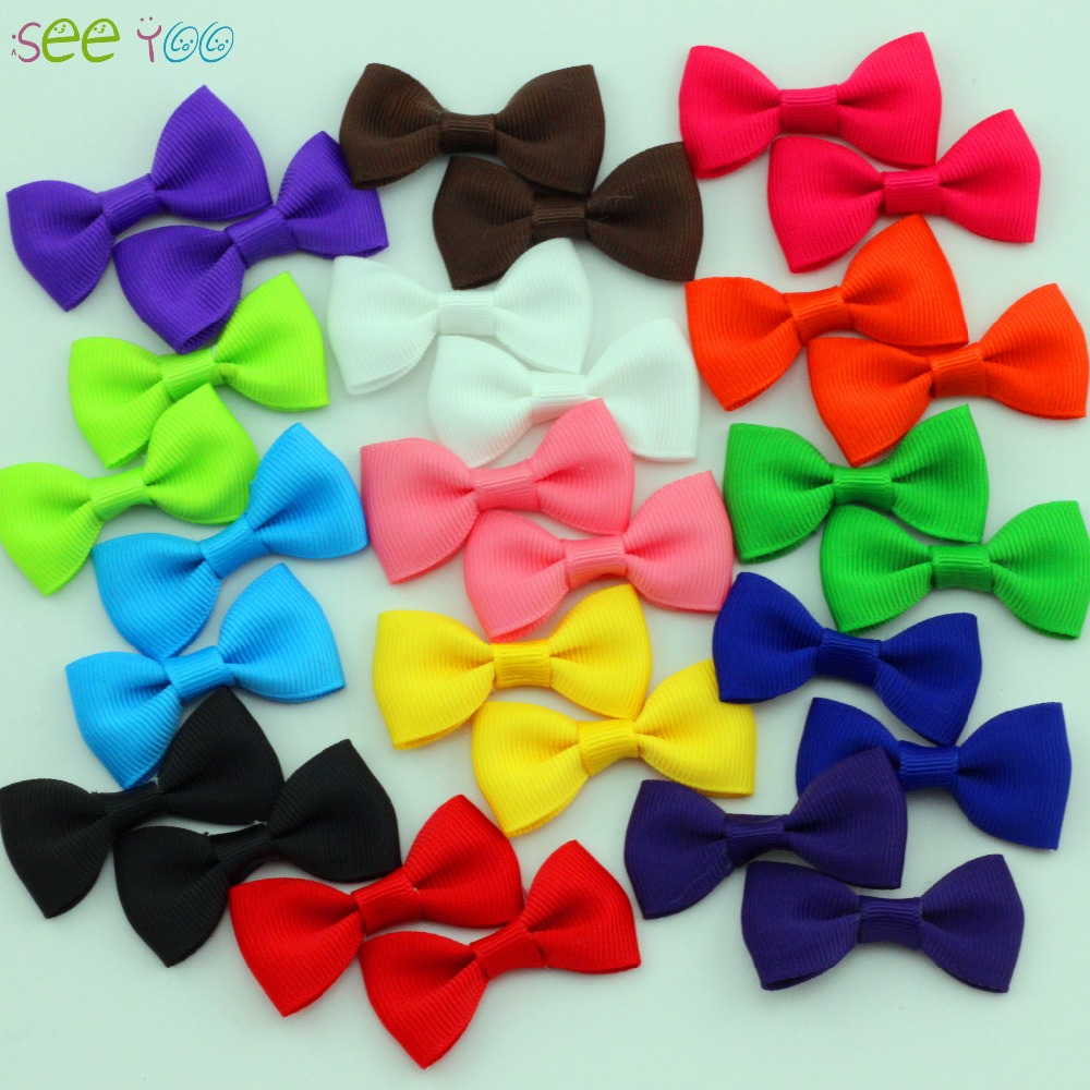 """Фото 10Pc/lot 2"""" bebe girl grosgrain ribbon Bows for hair Girl mini Bows With Clip Kids Hair Clips Boutique hairpin Hair Accessories"""