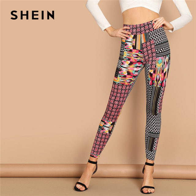 613b033f8 SHEIN Multicolor Casual Solid Geometric High Waist Patchwork Print Long  Leggings Autumn Leisure Modern Lady Women Leggings