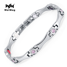 hot deal buy welmag fashion health energy magnetic bracelet bangles stainless steel bracelet health care elements(magnetic,fir,germanium)