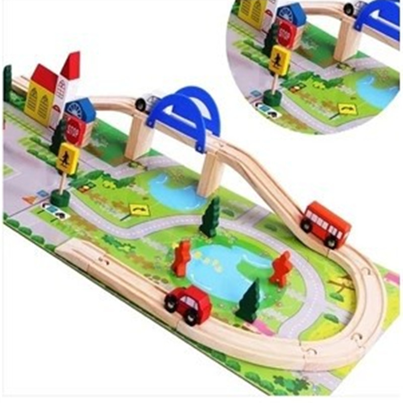 цена на New wooden toy Urban rail overpass wooden blocks car baby educational toy baby gift Free shipping
