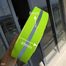 Флуоресцентная зеленая светоотражающая лента предупреждающая тесьма 49 мм * 8 мм ширина 5 ярдов DIY сумки одежда Спорт на открытом воздухе Швей...