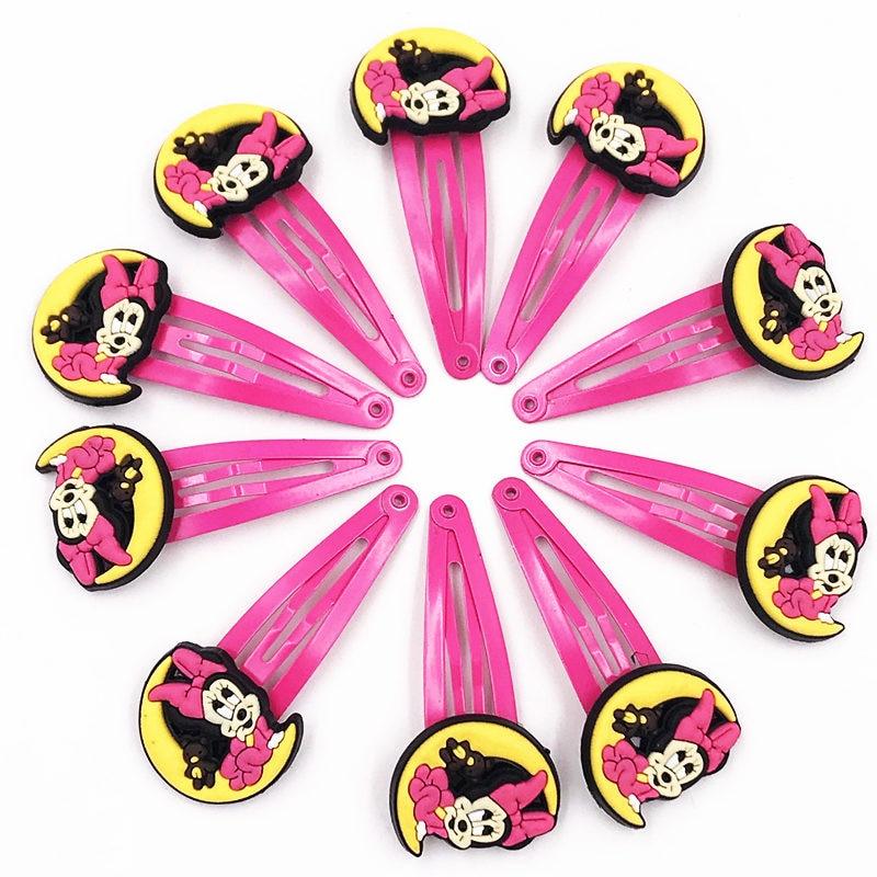 10pcs Mickey Minnie Bow Tie Wave Point Donald Duck Pvc Cartoon Hairpins Girls Hair Accessories Barrette Hair Clips Hairwear #4