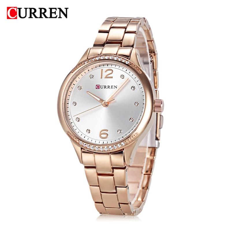 Curren marque de luxe femmes montre de mode montre à Quartz étanche couleur or Rose bracelet en alliage est conçu pour les femmes horloge