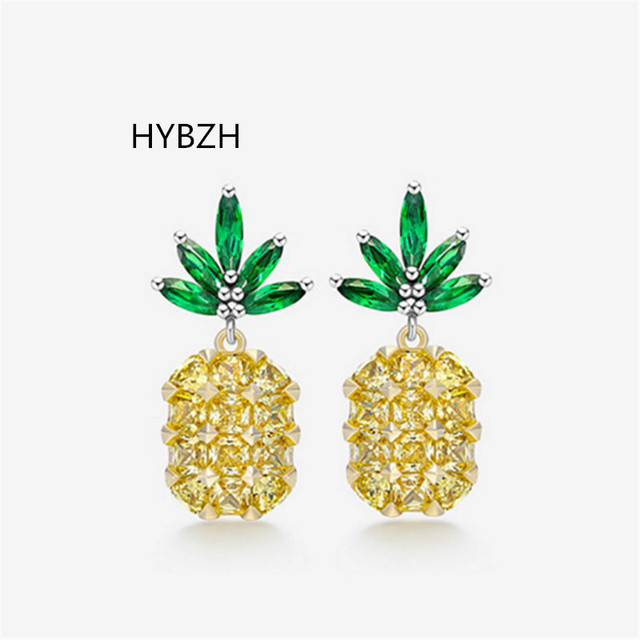 2c92f42a1299ab HYBZH Fashion three colors Pineapple Earrings Tropical Fruit Stud Earring  for Women Girl Gift Wedding Jewelry