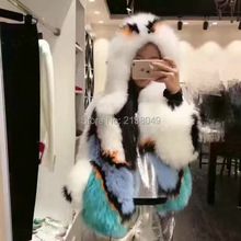SF0142 Luxury Brand Women Coat Short Style O neck Hand Made Knitted White Fox Fur Coats/ Fur Coats Women/ fox fur coat