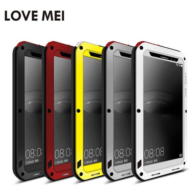imágenes para AMOR de la Original MEI Huawei Mate 8 Caso de Lujo A Prueba de Golpes vida A Prueba de agua de Metal Marco De Aluminio y Silicio para Huawei Compañero 8