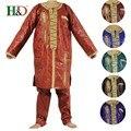 (Envío libre de DHL) hombre Dashiki Africano bazin riche 100% arte hecho a mano de algodón bordado de tela suave de Alta calidad PH35