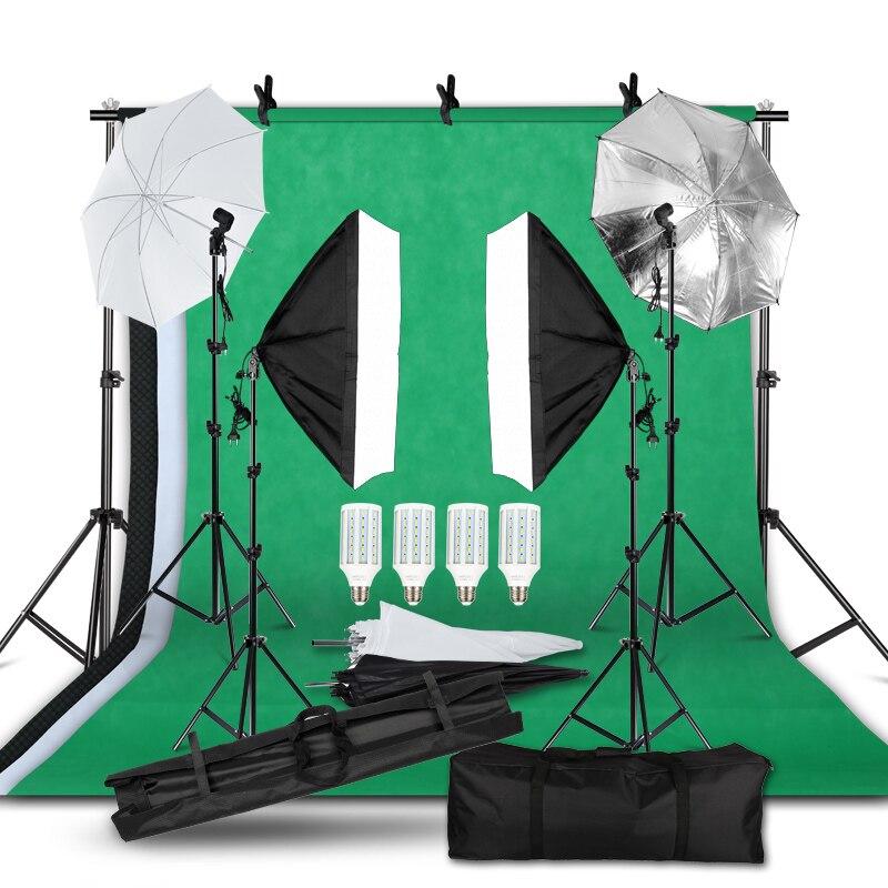 2M x 3M Fundo Sistema de Apoio Kit Guarda-chuva Softbox para Estúdio de Fotografia Do Produto, luzes de Fotografia de retrato e Gravação de Vídeo