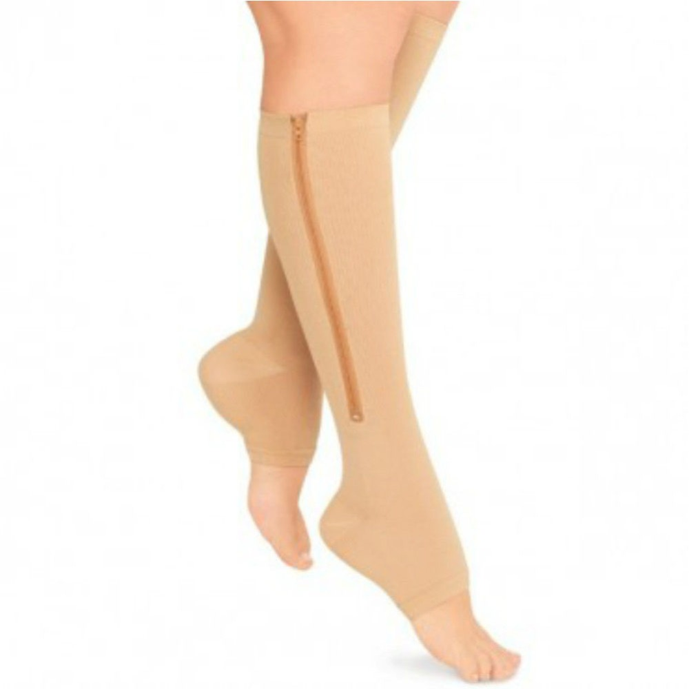 Zipper Compression Zip Leg Support Knee Stockings Sox Open Toe