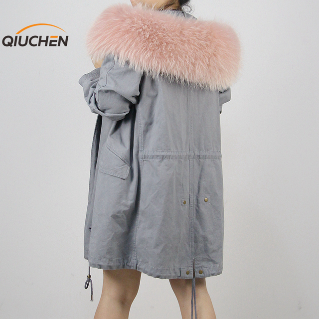 2016 new arrival big real raccoon dog fur collar unlined denim jean parka para as mulheres