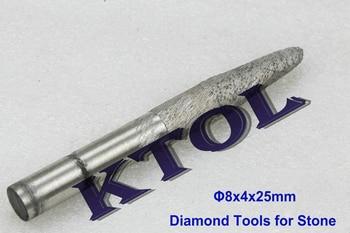 8x4x25mm V engravers bit Tapered Ball nose end mill CNC diamond tools for stones Granite, Diamond Sintered bits endmill cutter diamond tools for granite