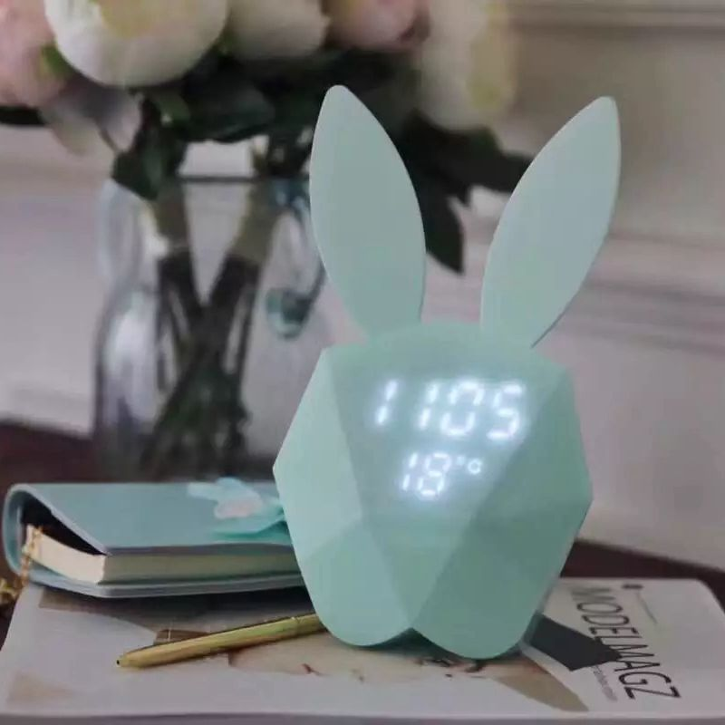 Cute Rabbit Shape LED Night Light Rechargeable Table Wall Digital Sound Control Alarm Clock For Home Decor