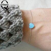 Sale Good Quality Bule And White Colors Opal Heart Bracelet For Woman 2016 New Bracelets Factory