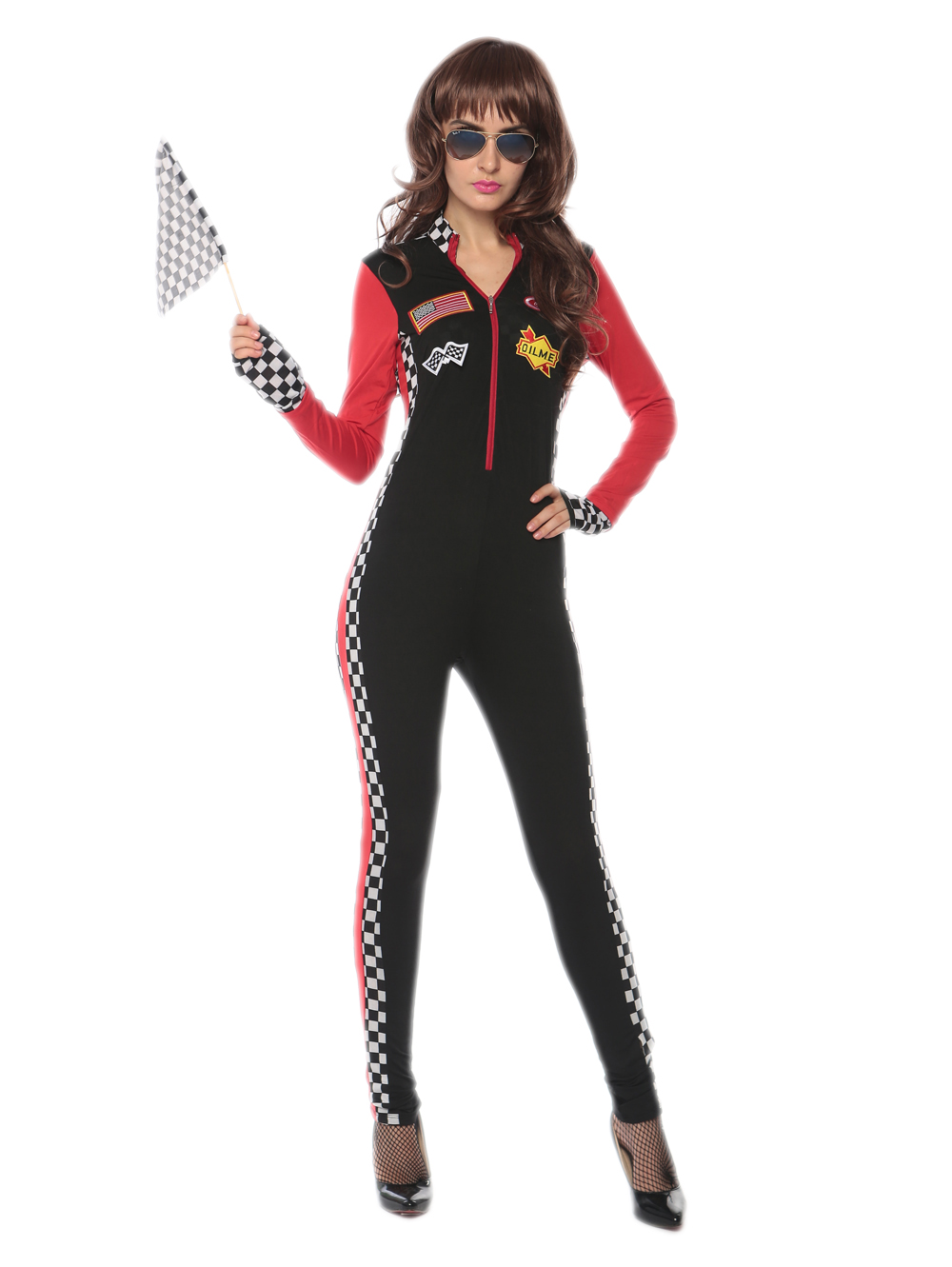 newest seductive sexy race girl jumpsuit 3S1722 Free shipping best quality adult halloween costumes